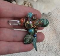 Small Crystal Orgone Wand - Abalone Turq